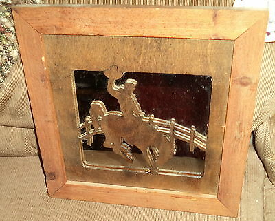 "Handcrafted 13.5"" Frame/Wall Decor Wood Cut-Out of Cowboy w/Mirror Backing"