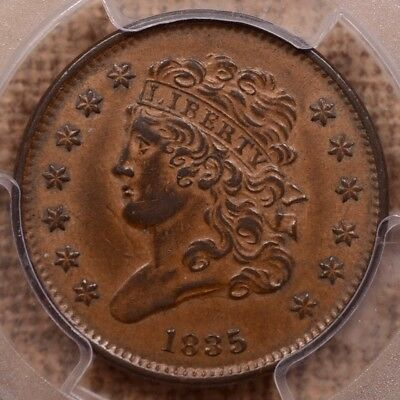1835 Classic Head Half cent, PCGS AU53, honey brown & smooth  DavidKahnRareCoins