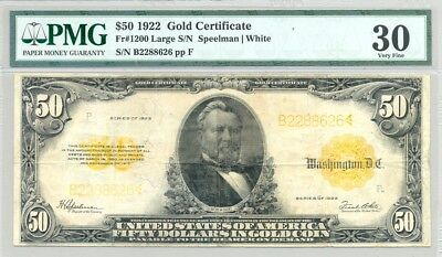 $50 large size (Series 1922) Gold Certificate higher grade PMG Very Fine 30
