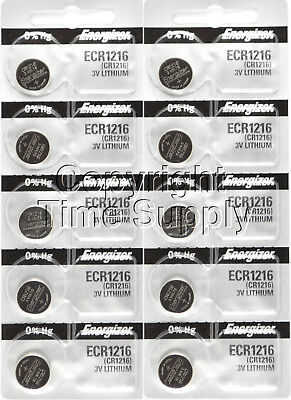 10 pc 1216 Energizer Watch Batteries CR1216 CR 1216 Lithium Battery 0% HG
