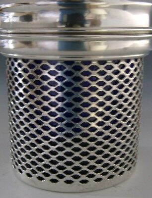 BEAUTIFUL AMERICAN STERLING SILVER BLUE GLASS LINED CANDLE HOLDER c1880-90