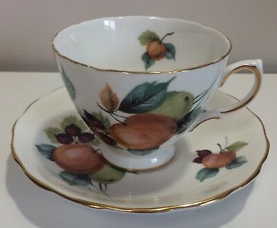 Royal Vale English Tea Cup and Saucer bone china fruit apple berries pear