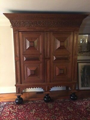 Great 17thC Dutch Oak & Rosewood Kas Cabinet w/ Onion Feet ~ Shelves & Till