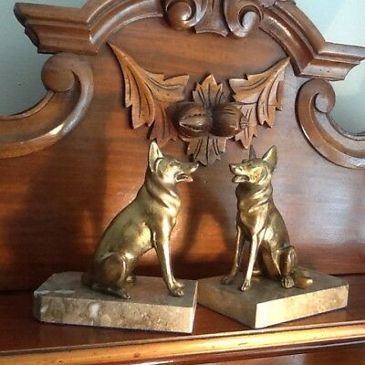 Vintage Genuine Art Deco 1920/1930 Gold Leaf On Spelter With Marble Base