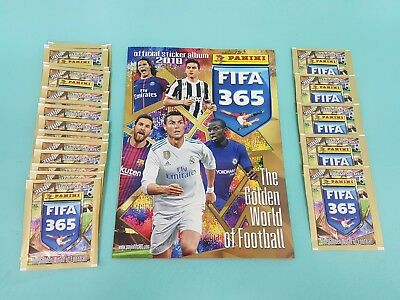 "Panini Fifa 365 ""2018"" Sticker Leeralbum +  25 Tüten / 125 Sticker Album"