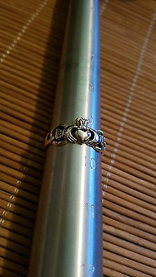 .925 Sterling Silver Claddagh Ring  size 9.5