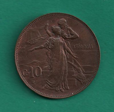1911 Italy 10 Centesimi Commemorative 50th Anniv or Kingdom 30mm Copper Coin