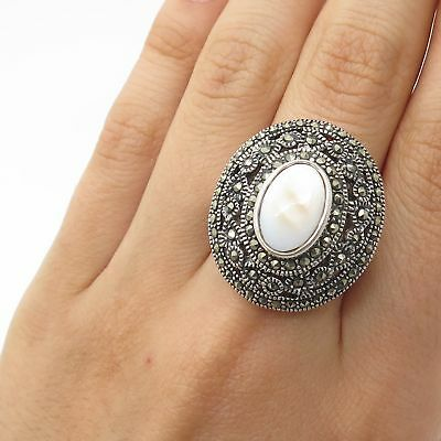 Signed 925 Sterling Silver Real Marcasite Gem Mother-Of-Pearl Wide Ring Size 7
