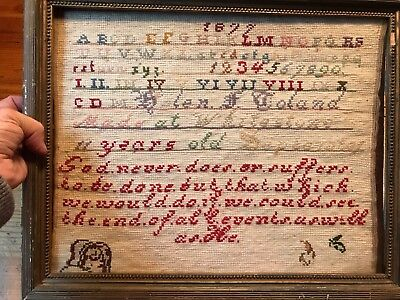 """Antique sampler 1877  11 year old good never does 15"""" x 12"""""""