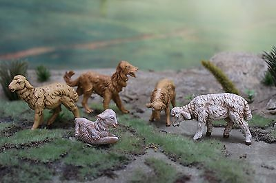 "5"" Fontanini Italy Nativity ANIMAL LOT Of 5 - 2 Brown & 2 White SHEEP & 1 DOG"