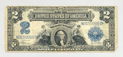 $2 Series 1899 Silver Certificate, evenly circulated, good looking, no reserve