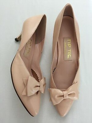 Vintage 50s pale blush pink nude kitten heel bow pointy toe shoes heels 6.5 7