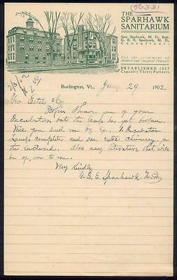 1902 Burlington VT SPARHAWK SANITARIUM Letterhead Homeopathy Medicine Surgery