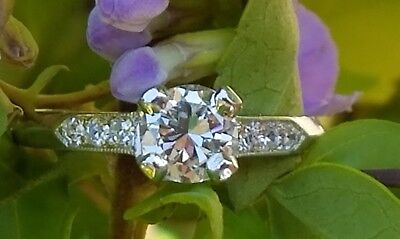 c1920s Old European Cut Diamond Platinum Art Deco Ring Engagement Vintage