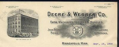 1900 Minneapolis DEERE & WEBBER Letterhead John Deere