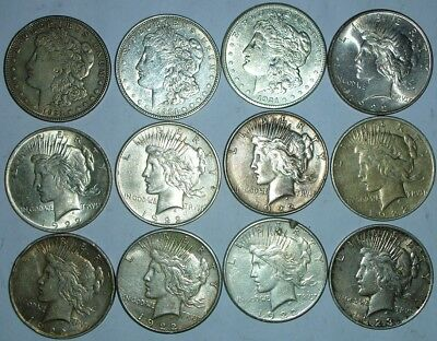 12 Silver Dollars 1921, 1921-S, 1922, 1922-D, 1922-S, 1923
