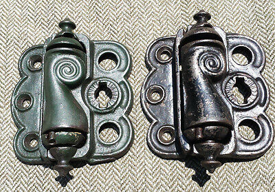 2 Victorian Cast Iron Screen Door Hinges Spring Loaded Self Closing Working Vgc