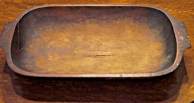 Early Antique Hand Carved Trencher Dough Bowl Old Paint on Outside Nice!