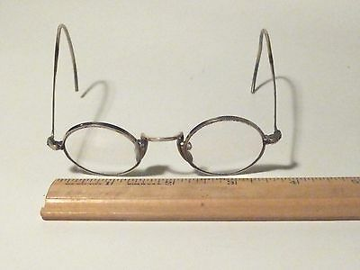 Antique Small 34 Mm Round Eyeglasses Silver Color Good Used Condition
