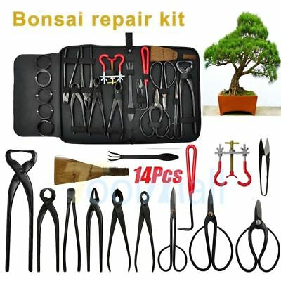 14pcs Bonsai Tool Set Kit Scissors Cutter Carbon Steel Shears Tree Branch Case