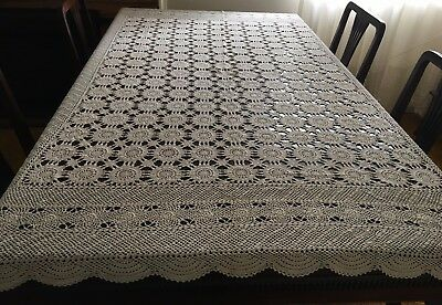 HAND CROCHET Beige, Rectangular Tablecloth 173 x 135cm - Lovely