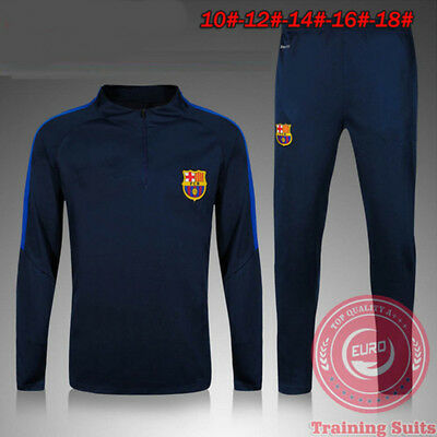 2Pcs Barcelona Training Suit Kids Boy Soccer Tracksuit Football Jersey Pants New
