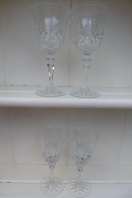 4 Galway Cut Glass Crystal Wine Glasses Longford Design
