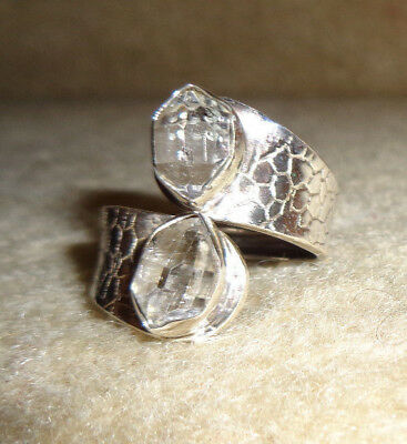 Unique 925 Sterling Natural Rough Herkimer Diamond Ring Size 11