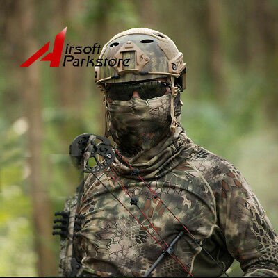 Camouflage Hunting Tactical Mens Quick-Dry Long Sleeve T-Shirt Mask Airsoft HLD