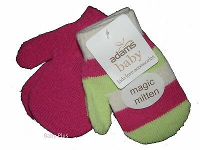 bnwt adams baby 2pack girls magic mittens winter one size