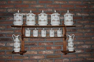 Antique French Wall Hanging Shelf Spice Herb Rack with Porcelain Storage Jar