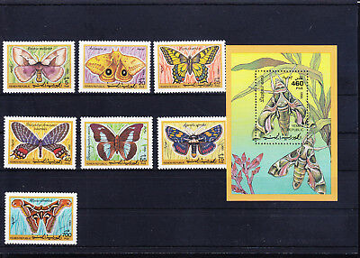 053620 Schmetterlinge Butterfly Yemen Republic 15-21 + Block 3 ** MNH Year 1990