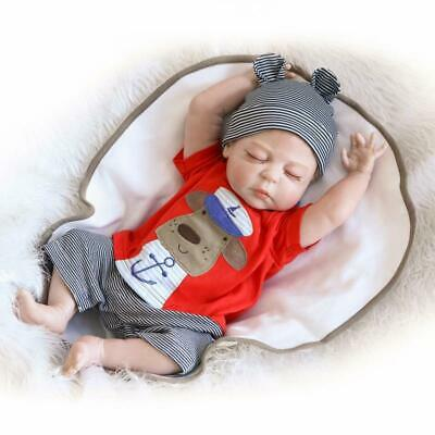 "23"" Reborn Baby Boy Doll Realistic Handmade Full Body Silicone Lifelike Toy Boy"