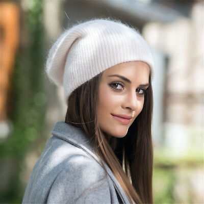 Womens Solid Color Cashmere Beanie Hat Ski Cap Slouchy Warm Winter Skull Y88