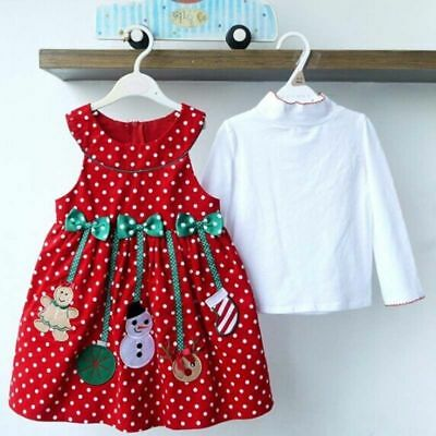 XMAS Toddler Kids Baby Girl Dress Sleeveless Party Princess Dresses 2-7T Clothes