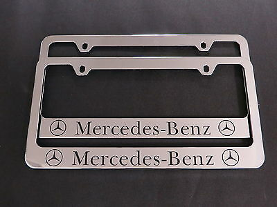 2 MERCEDES-BENZ E-CLASS STAINLESS STEEL Chrome License Plate Frame + Screw Caps