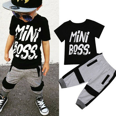 UK Stock Toddler Kids Baby Boy T-shirt Tops Pants 2Pcs Outfits Set Clothes 1-6T
