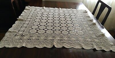 HAND CROCHET Beige, Square Tablecloth/Centrepiece & 17 Doilies - Lovely