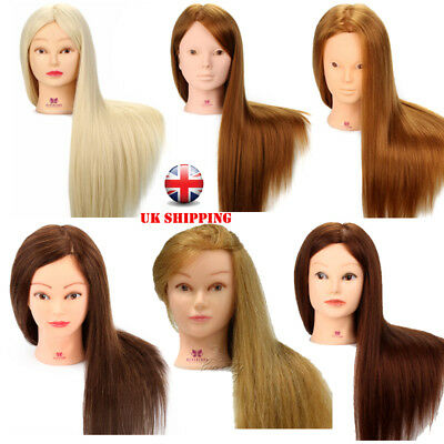 100% Real Human Hair Training head Practice Mannequin Hairdressing Doll + Clamp