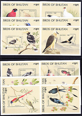 053783 Vögel Birds Bhutan Block 213/24 ** MNH Year 1989