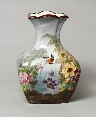 Extremely Beautiful Antique French Barbotine Pottery Vase Signed G.lemonniere