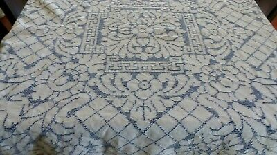 Beautiful Blue and White Vintage Tablecloth with Intricate Drawn Work 47 x 49ins