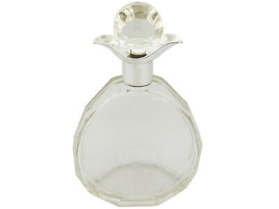 Antique Cut Glass and Sterling Silver Mounted Decanter Art Deco 1920s