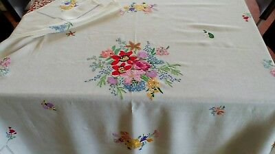 Exquisite Vintage Hand Embroidered Tablecloth 48 x 58 inches
