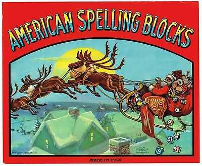 Toy Box Label Vintage Spelling Blocks 1920S Michigan Abc's Santa Claus Christmas