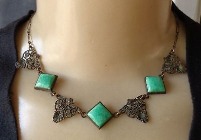 Vintage Art Deco Era Green Peking Glass Collar W/ Brass Filigree