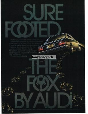 "1974 Audi Fox ""Sure Footed"" Vtg Print Ad"