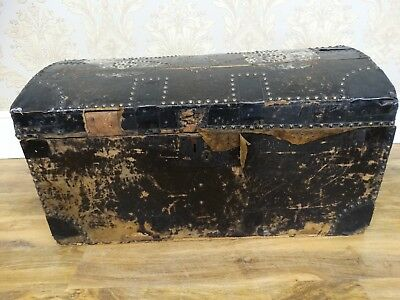 """""""On Trend"""" leather clad brass studded antique victorian dome topped trunk, chest"""