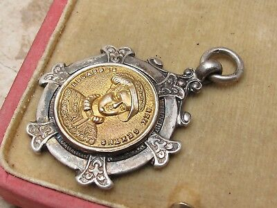 Antique Sterling Silver 925 & Gold Albert Chain Fob Medal