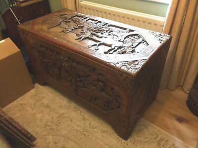 Antique Carved Chinese / Tibetan Chest • Camphor Wood